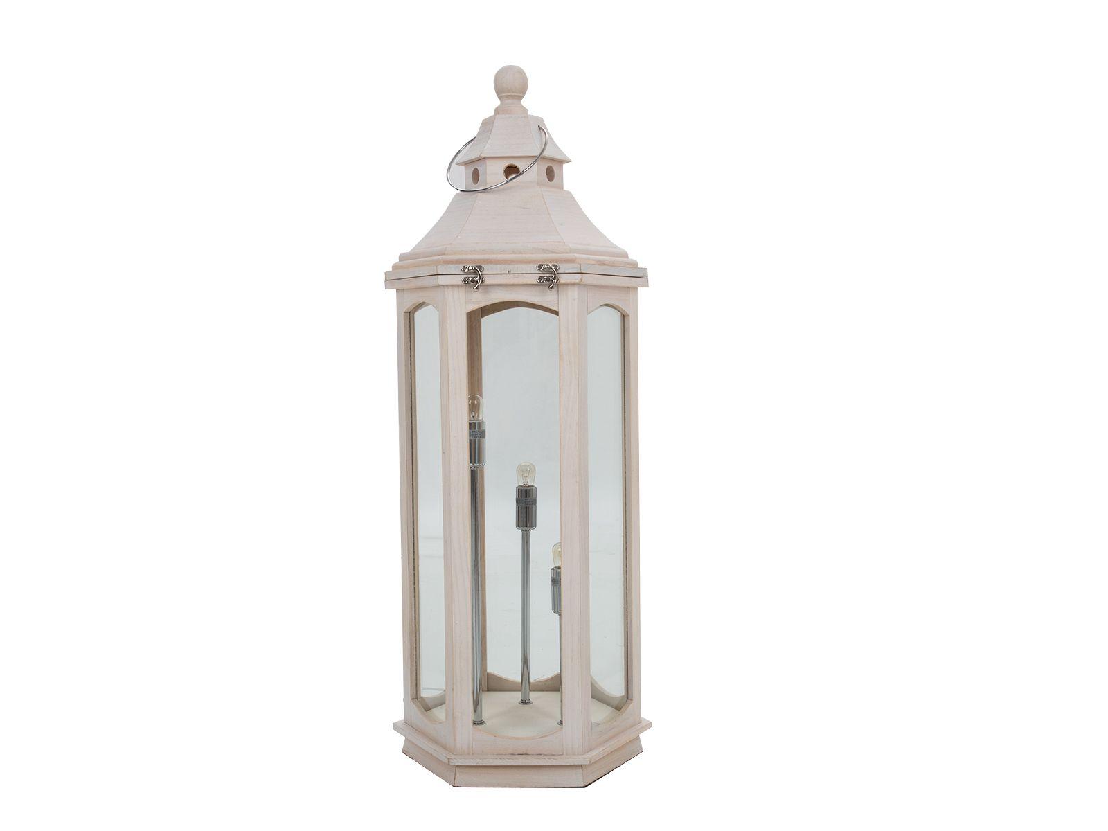 Lamp White Wash Wood Lantern Floor Lamp