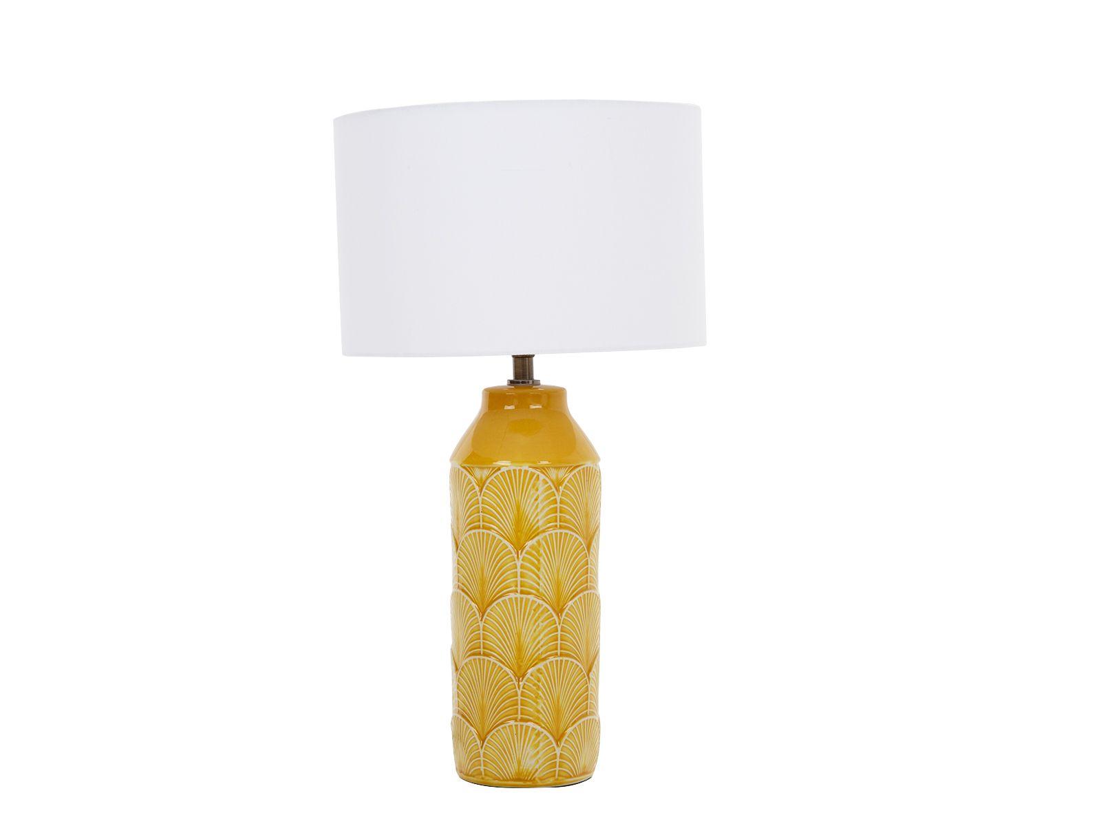 Lamp Embossed Mustard Ceramic Table Lamp